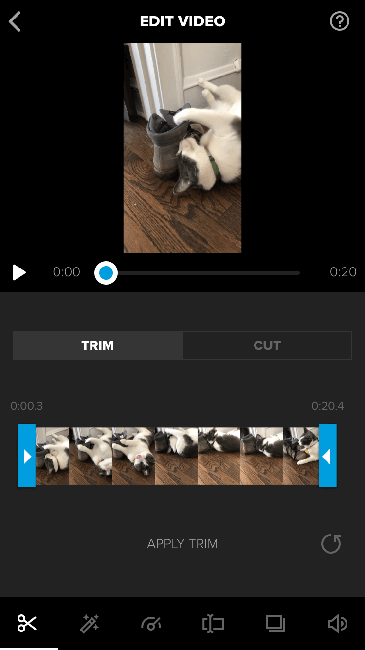 The trim feature in the Splice Video Editor.
