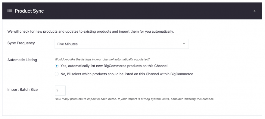 The sync frequency settings for BigCommerce in WordPress.