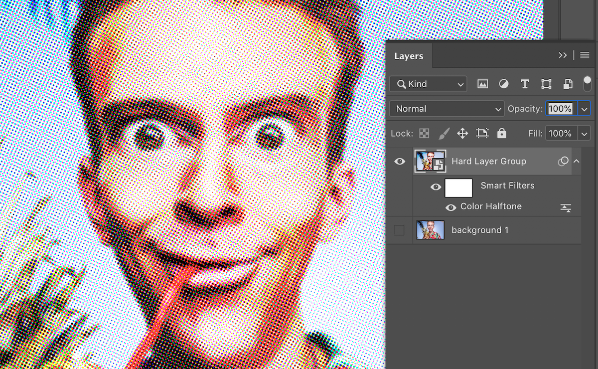 Screenshot of the Color Halftone filter applied to funny man image