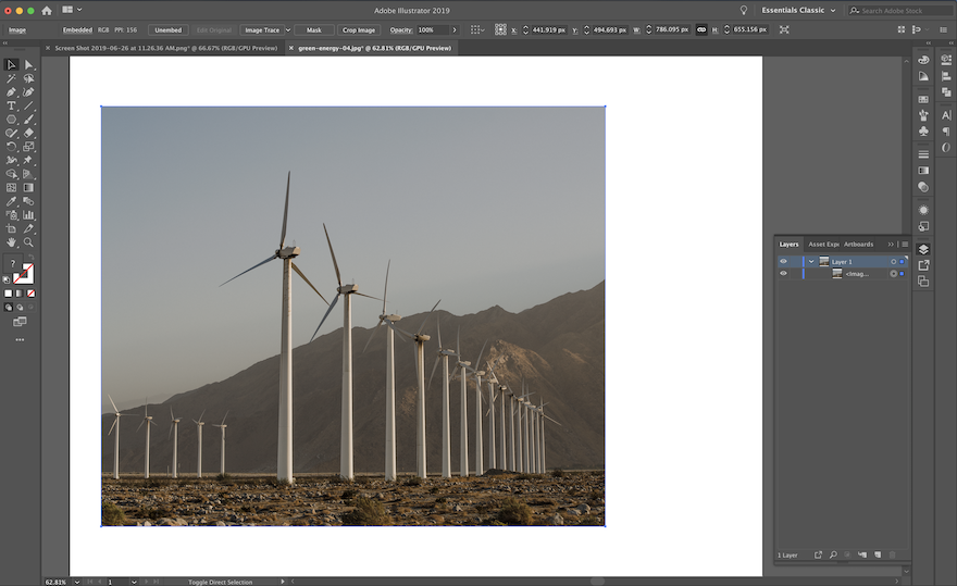 screenshot of Adobe Illustrator - cropped image