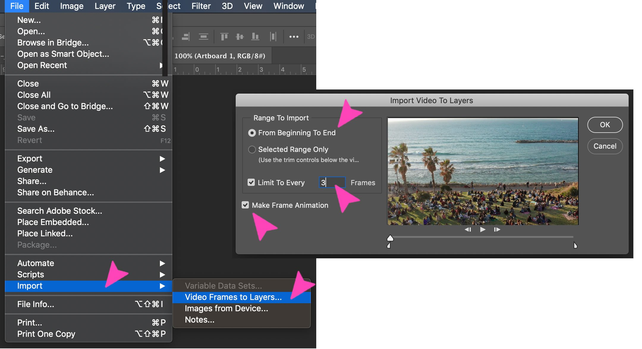 Screenshot of a photoshop action about importing a video with frames as layers to make a GIF