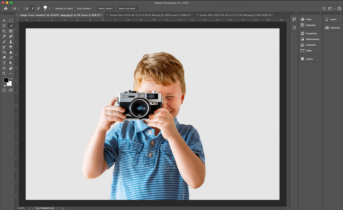 Remove the white background from an image with the quick selection tool