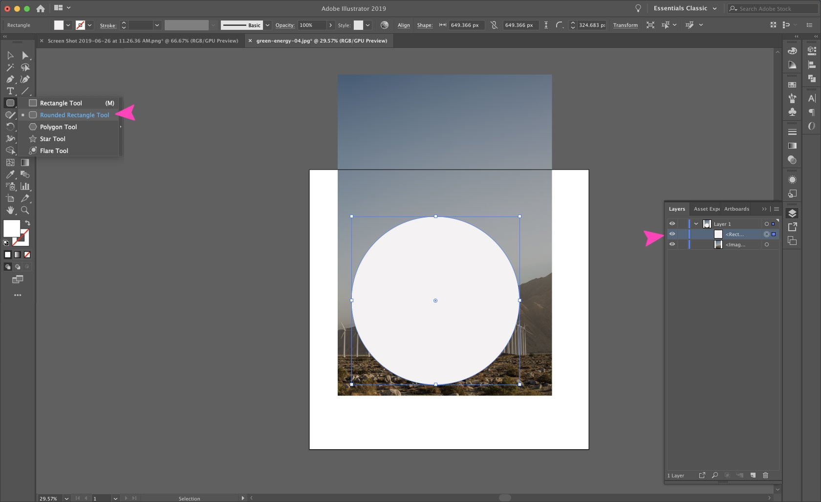 Add a circular clipping mask on a layer above the image