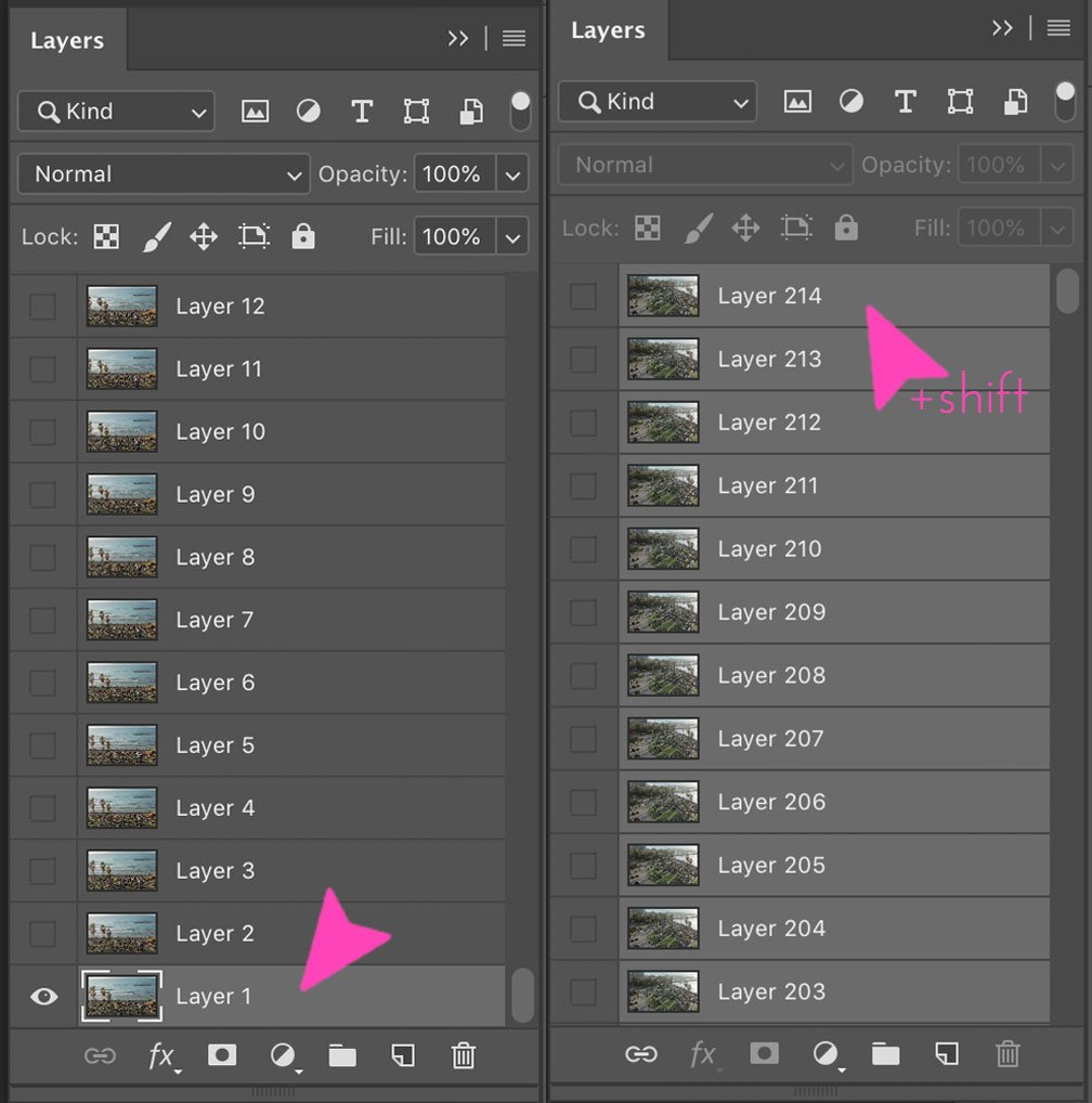 Screenshot of Layers panel on Photoshop - How to make a GIF with video in Photoshop