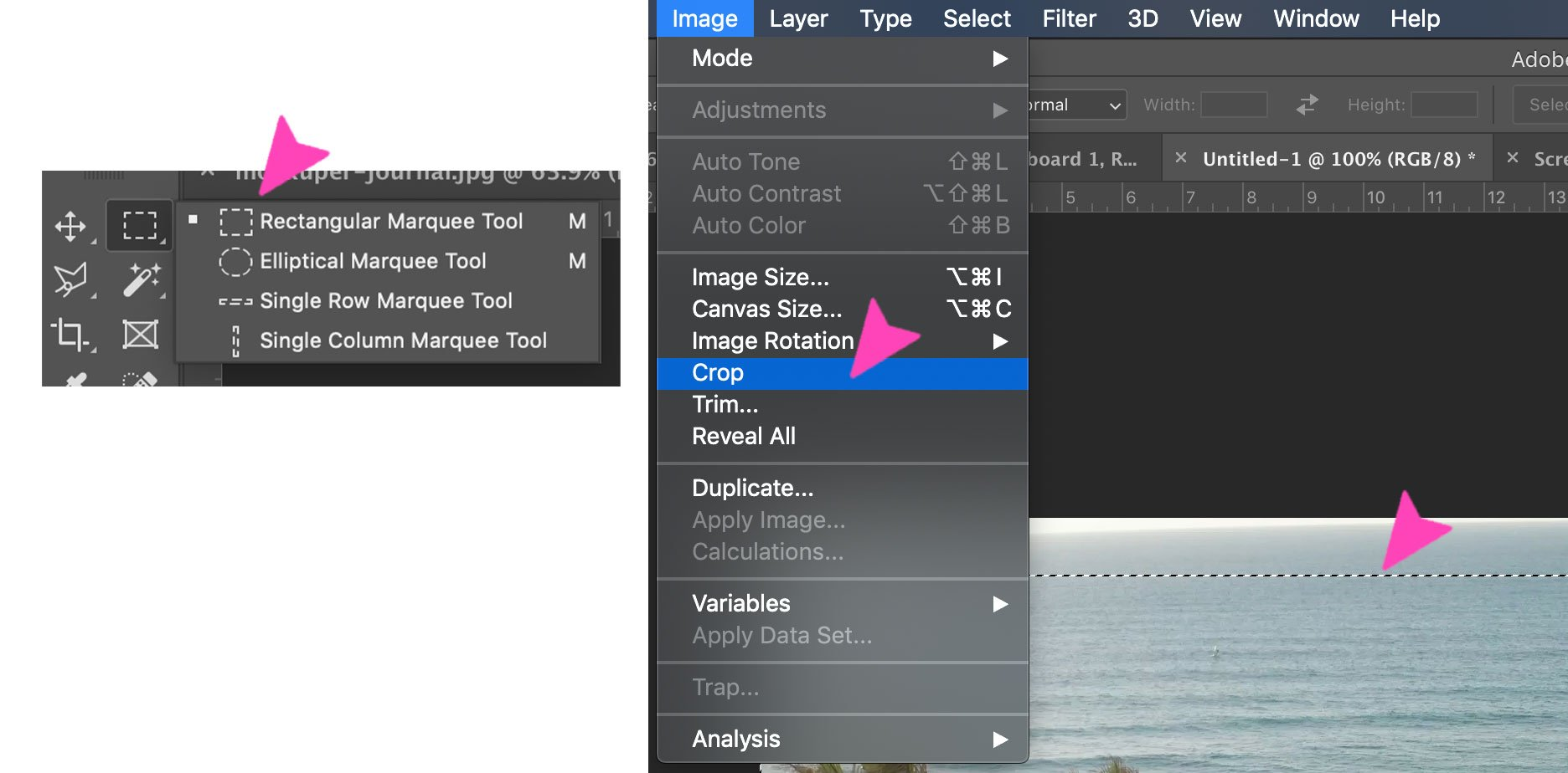 screenshot of a photoshop action - select and crop
