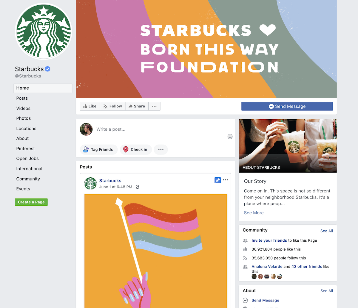 screenshot of Starbucks Facebook Page