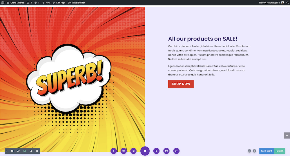 Using comic book graphics with the divi builder