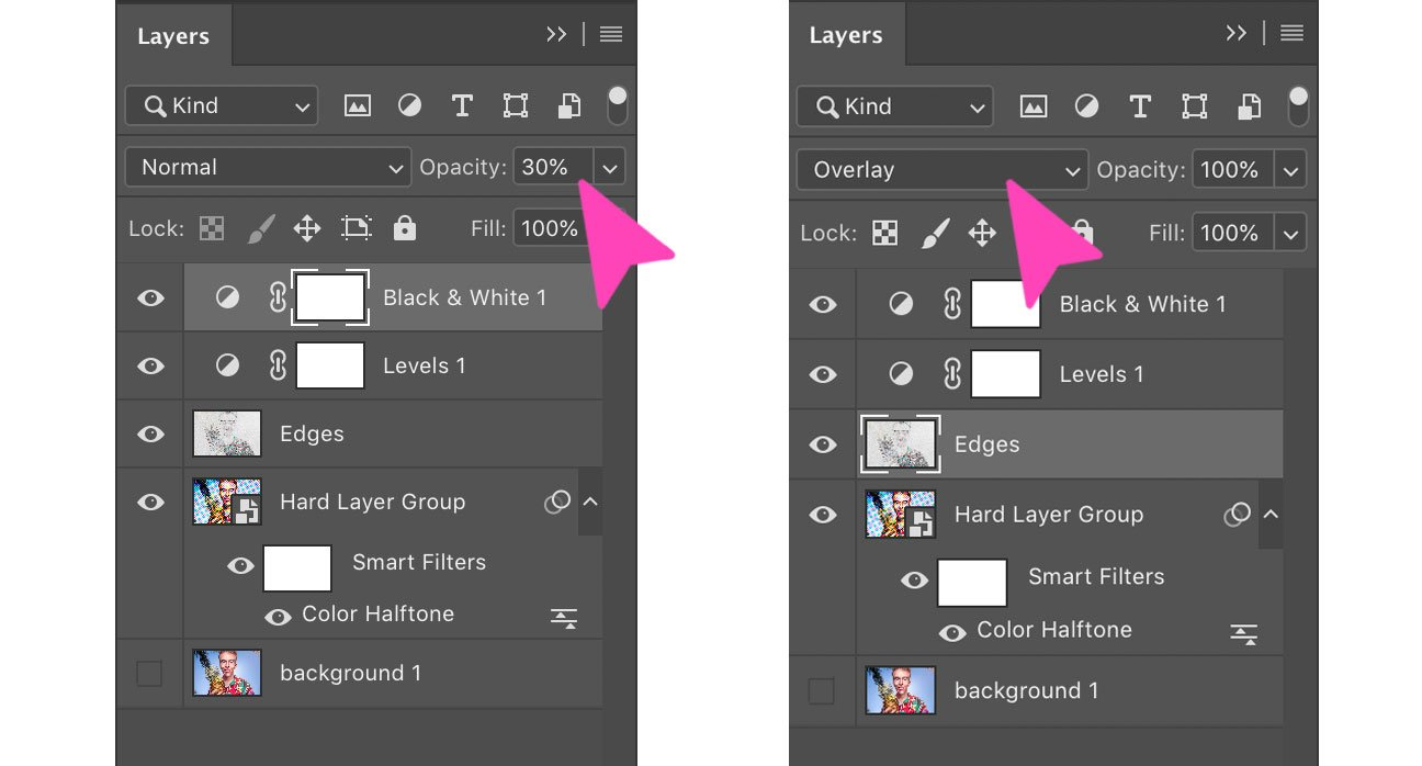 screenshot of adjustment layers on Photoshop