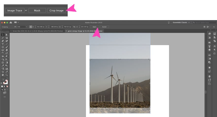 screenshot of an image crop on illustrator