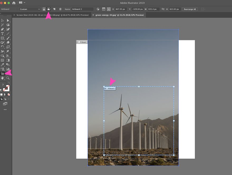 screenshot of Adobe Illustrator action - cropping with an artboard