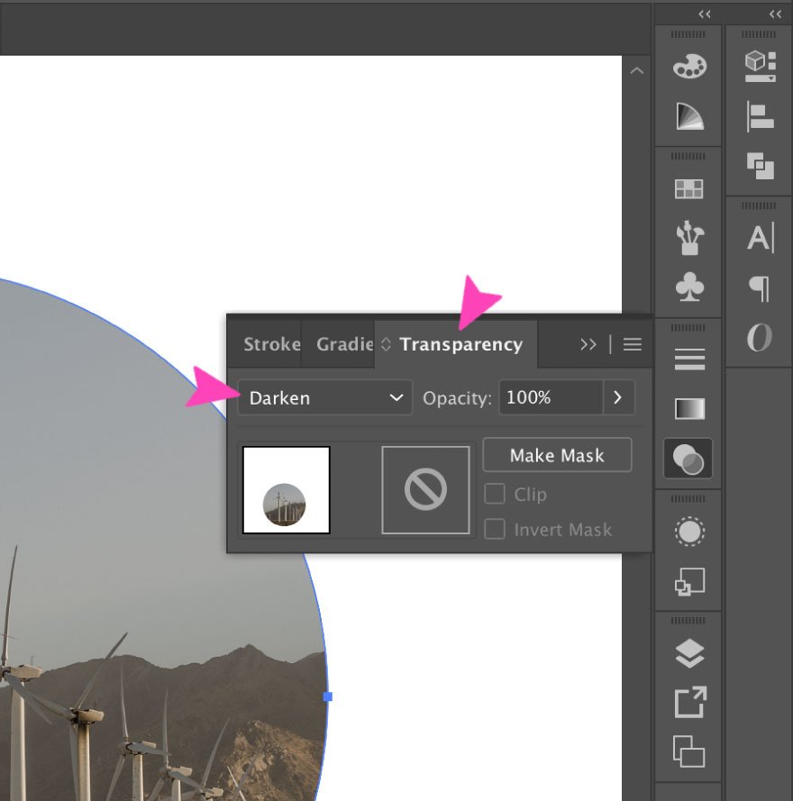screenshot of Illustrator action - darken transparency mode