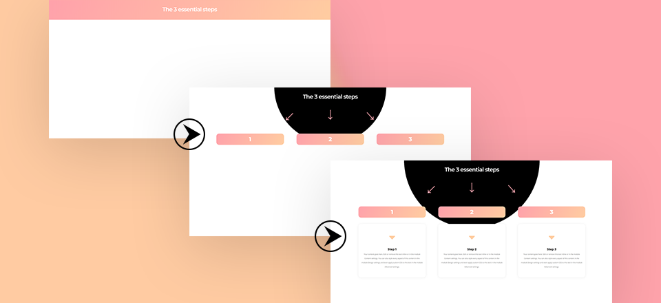 How to Create a 3-Step Blurb Reveal on Hover with Divi