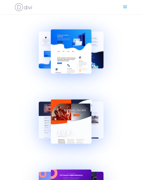 divi layout pack preview fan-out hover effects
