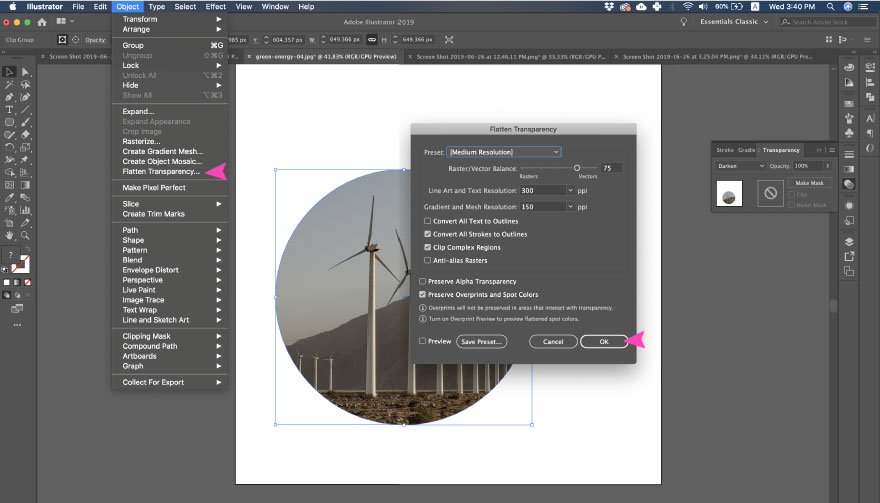 screenshot of Adobe Illustrator action - flatten transparency and expand