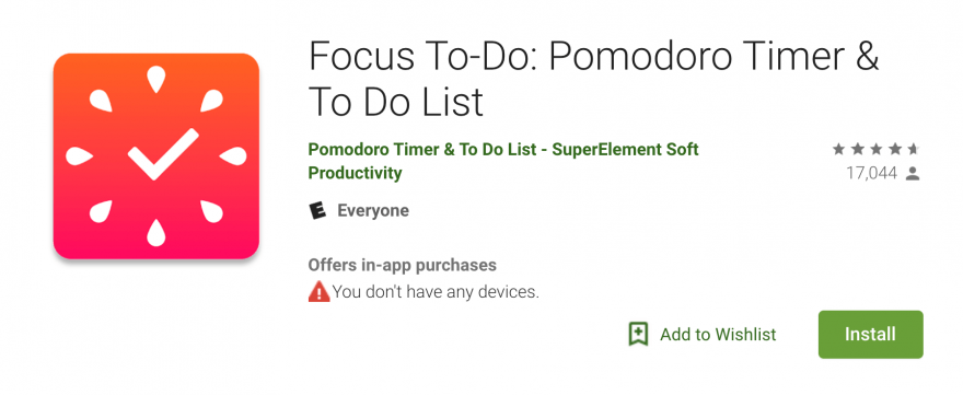 The Focus To-Do App in the Google Play Store.