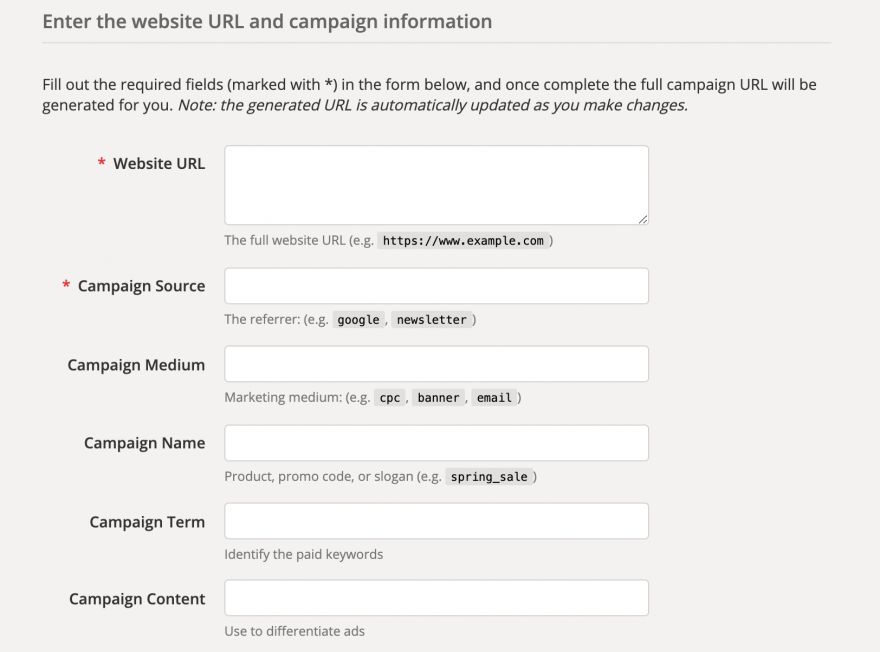 The Google Campaign URL Builder.