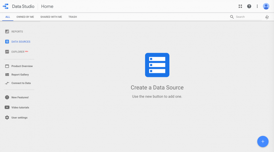 Adding a new data source in Google Data Studio.