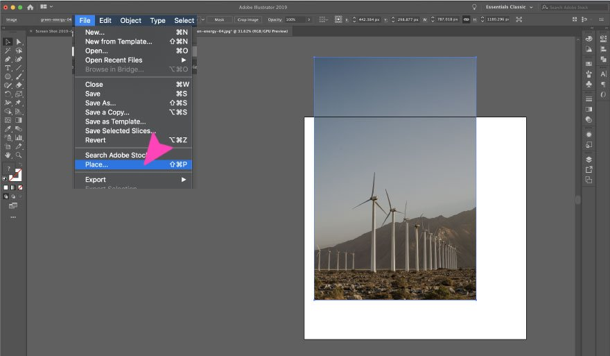 screenshot of adobe illustrator image place
