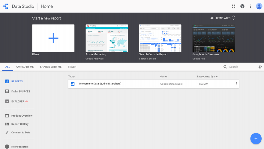 The new report templates in Google Data Studio.
