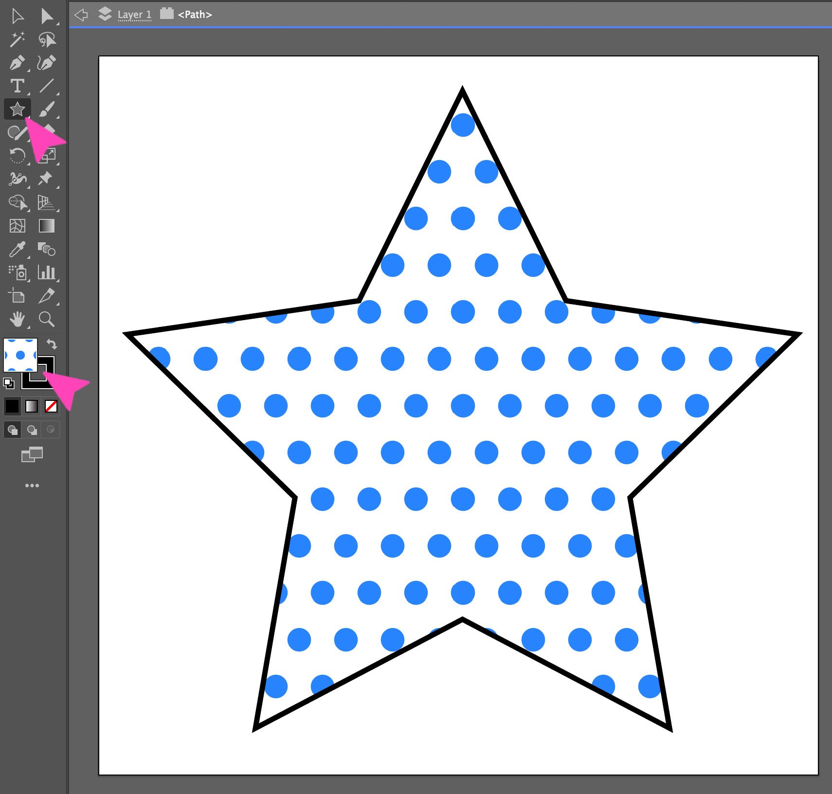 screenshot of comic book dot pattern on a star