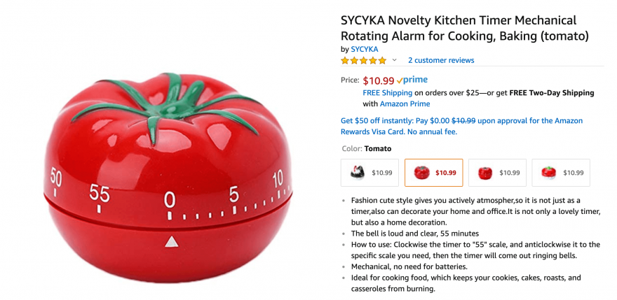 A tomato-shaped kitchen timer for sale on Amazon.