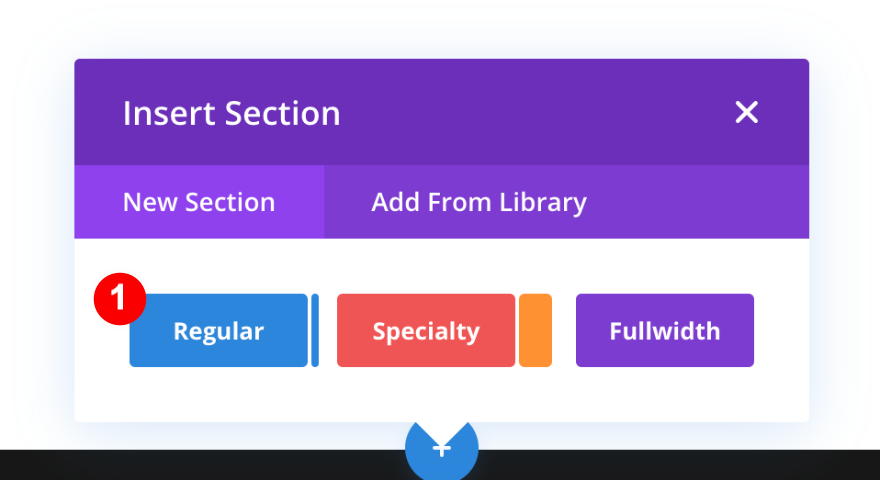 Add a regular section in the divi builder