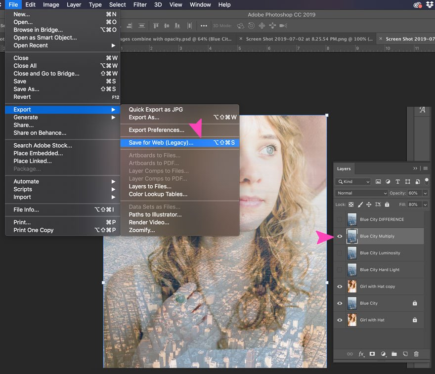 Choose the layer blend and export