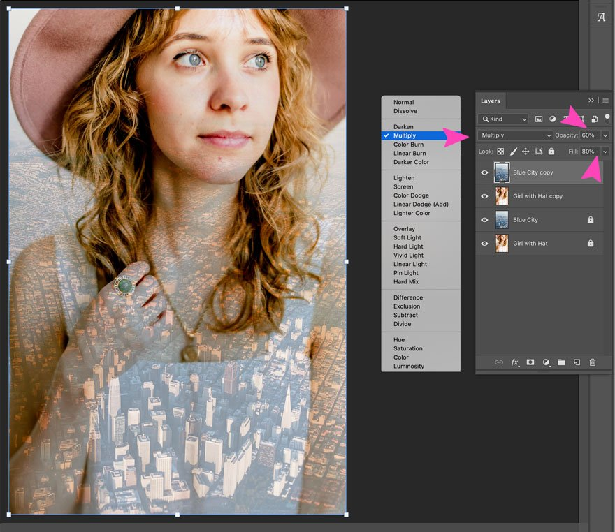 screenshot of multiply blend mode on photoshop