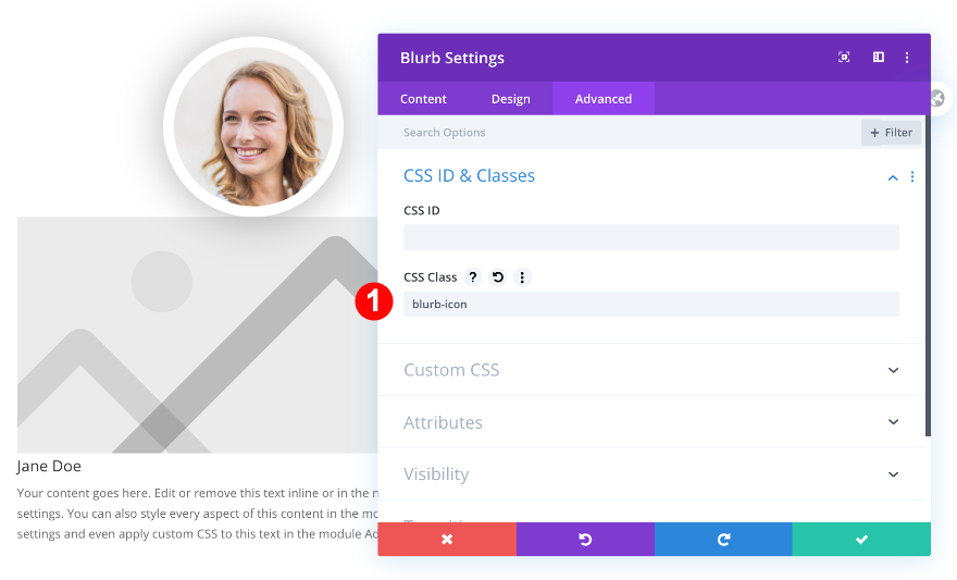 add a css class to the blurb
