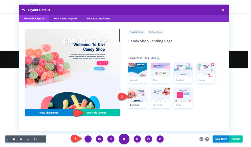Get a FREE Candy Shop Layout Pack for Divi