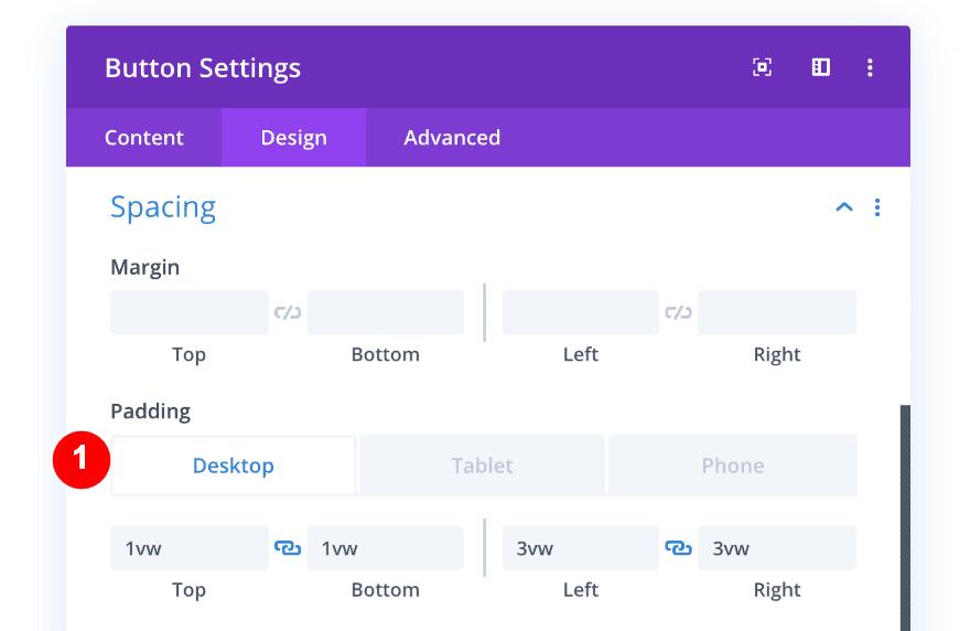 adjust spacing of button for desktop
