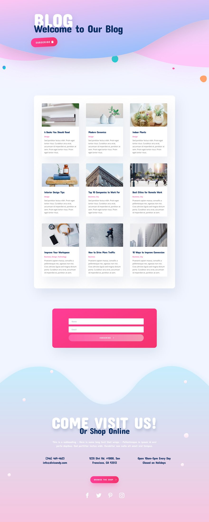Divi Candy Store layout pack
