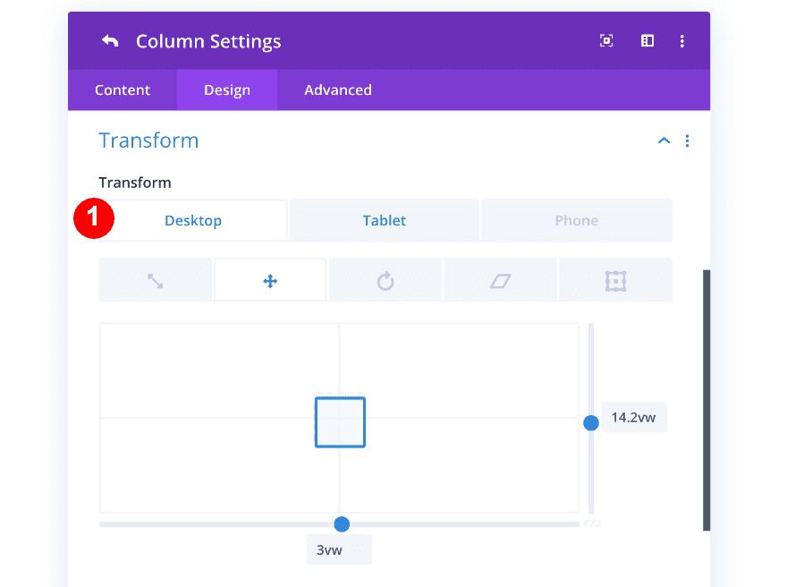 column one transform options
