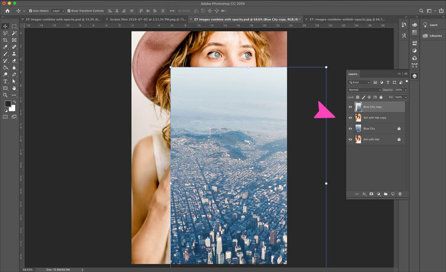 screenshot of photoshop opacity on layers