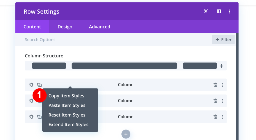 copy item styles from column one