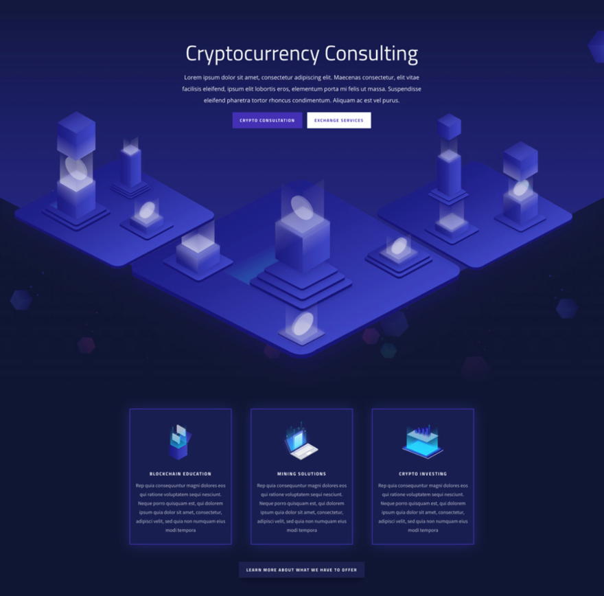 cryptocurrency Divi symmetry layout