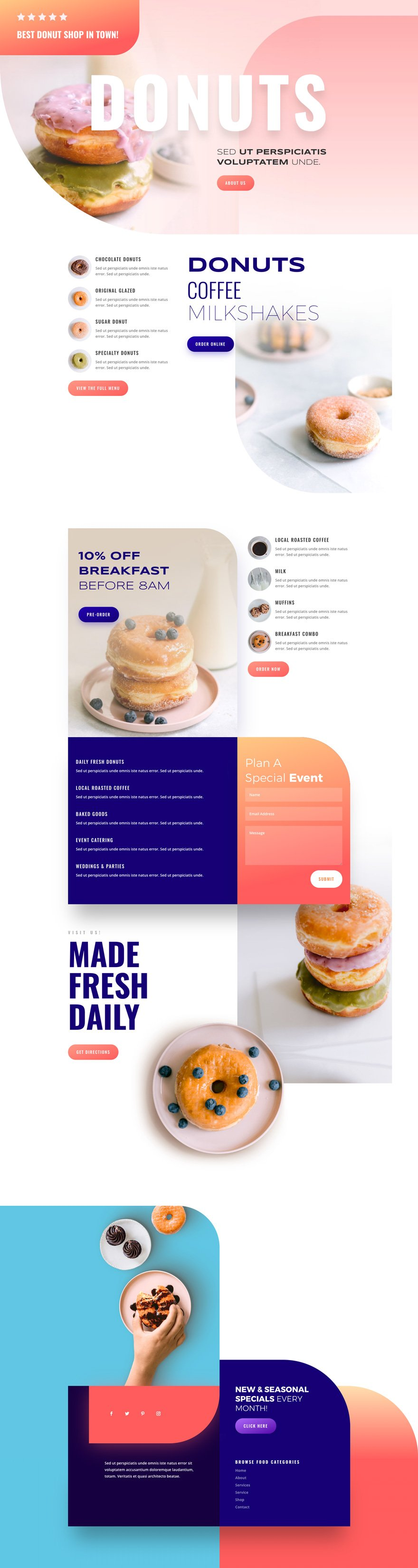 divi donut shop layout pack