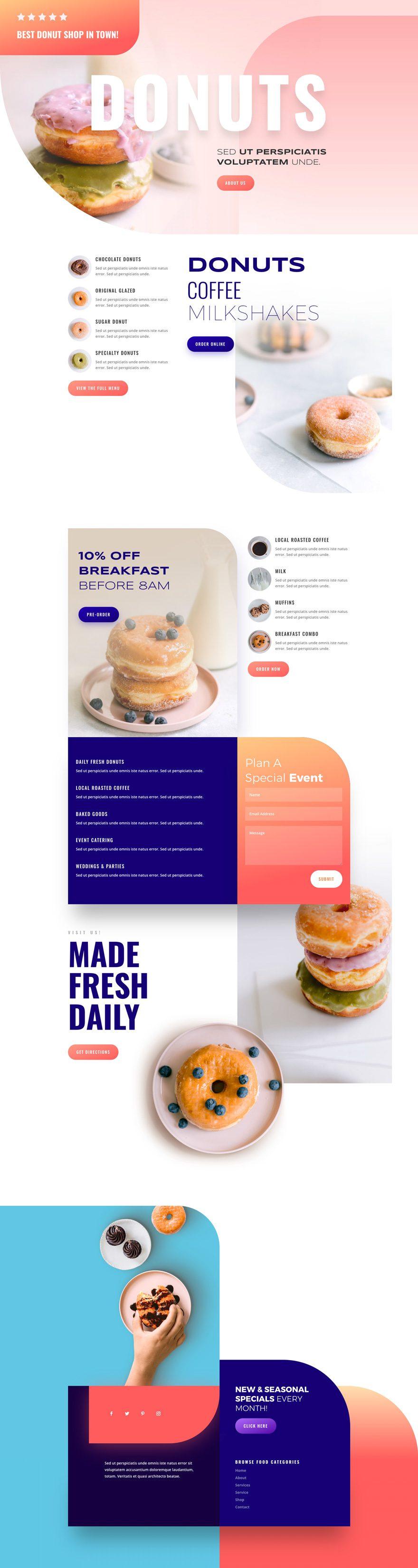 divi donut shop layout pack