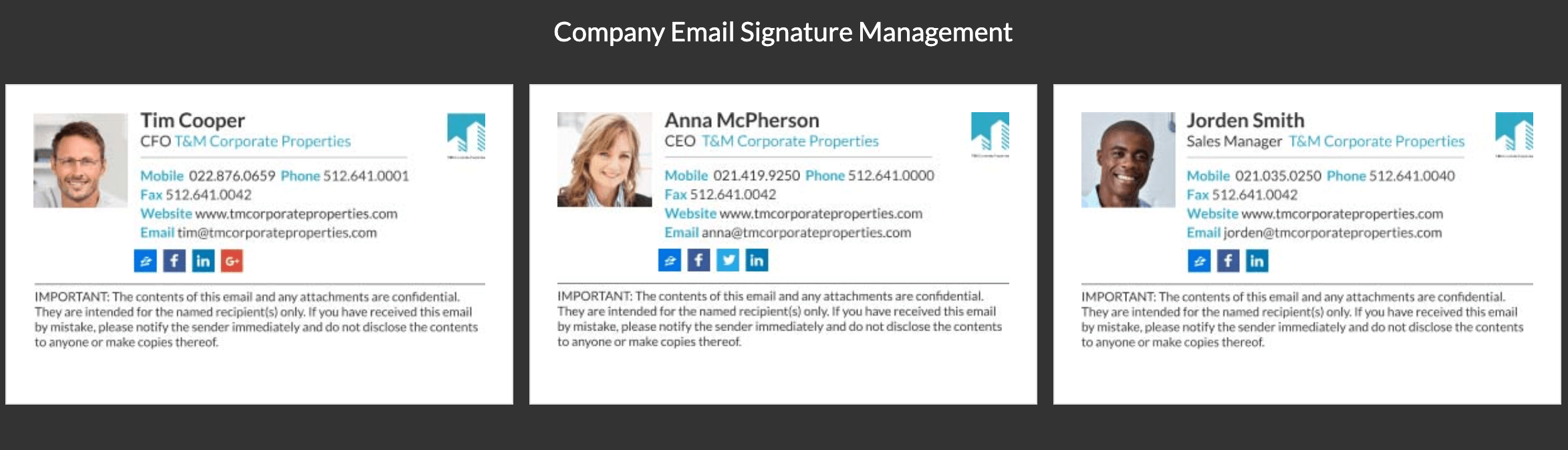 Three team email signatures created with WiseStamp.