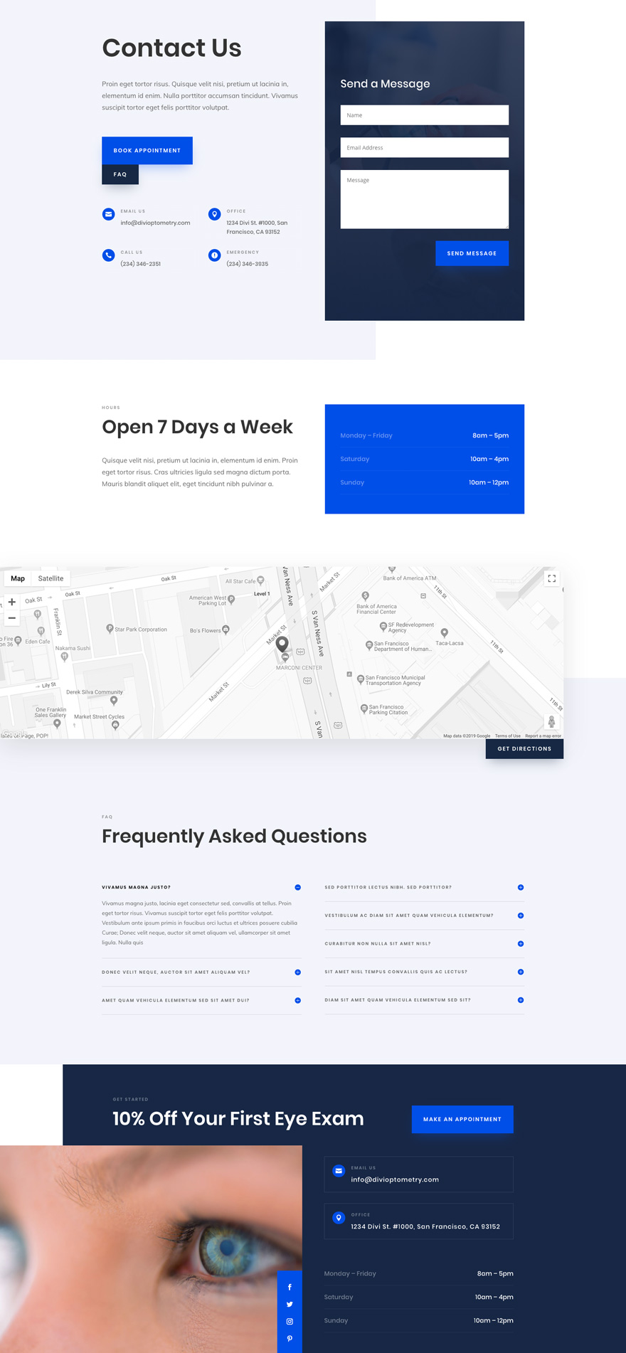 divi eye doctor layout pack