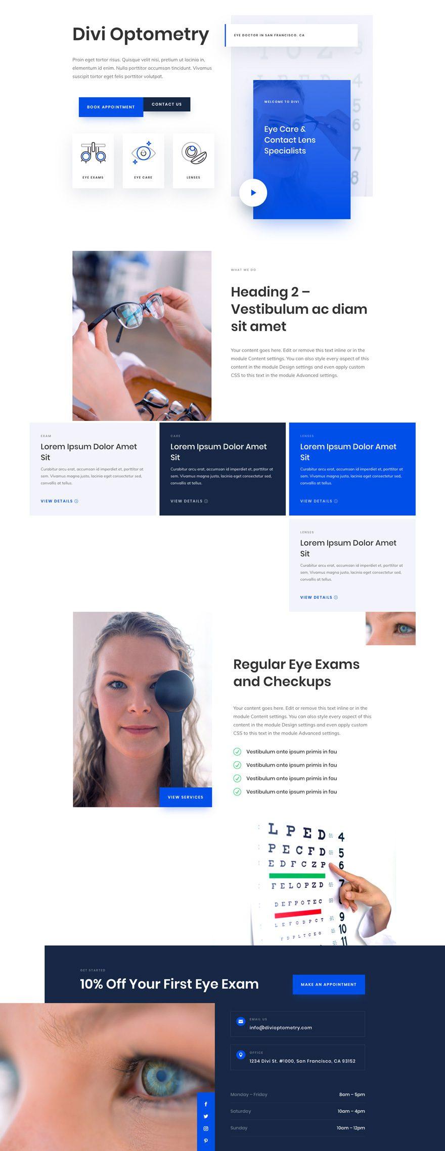 divi eye doctor layout pack