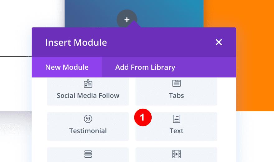 insert a text module in column three