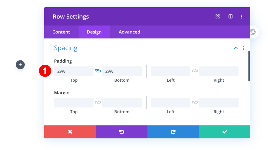 padding for row settings