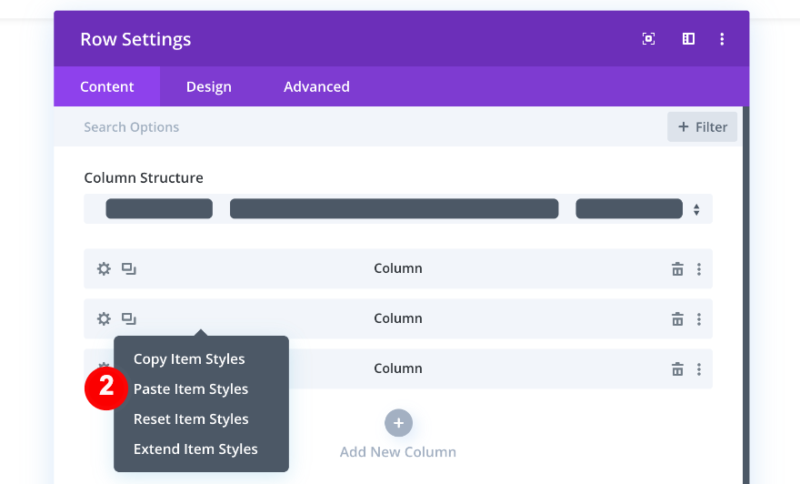 paste item styles to columns two and three