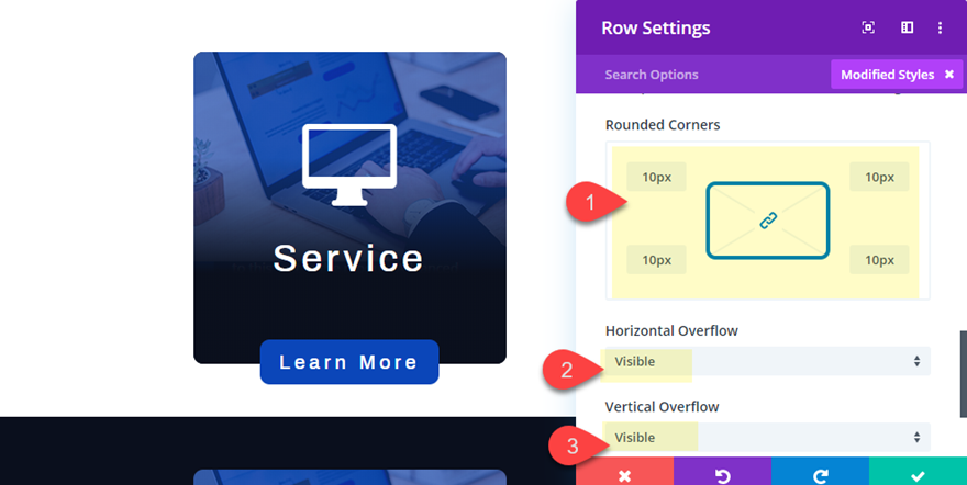 divi pop out service descriptions