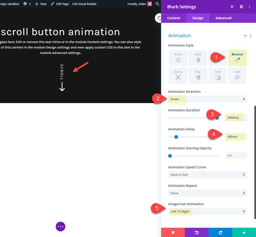 divi animated scroll button designs