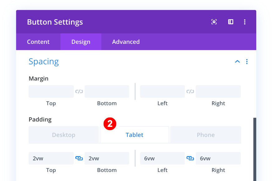 spacing for tablet - button
