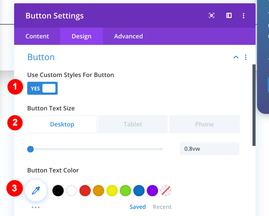styling the button in column three