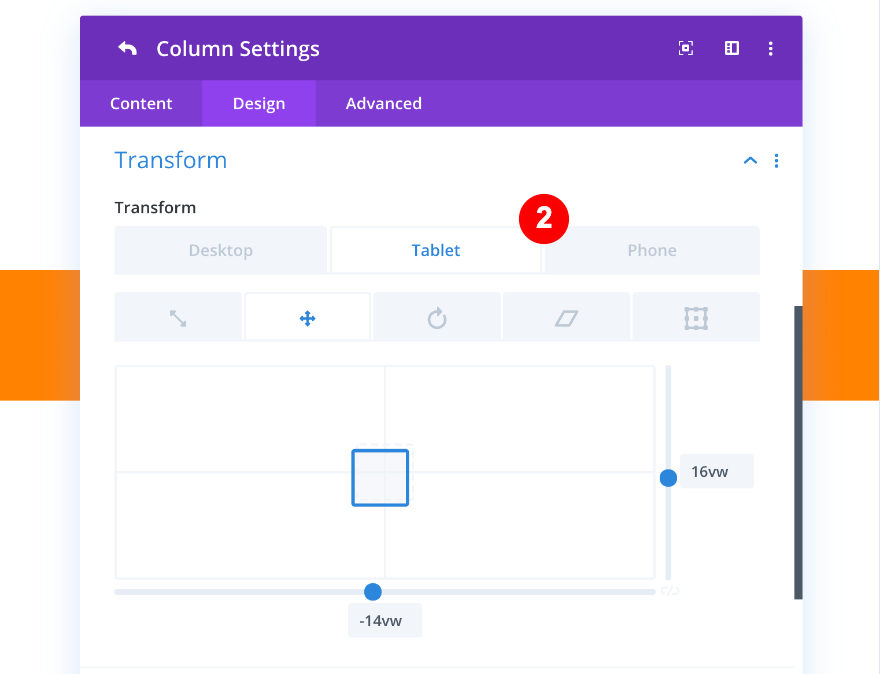 transform options for column one in mobile