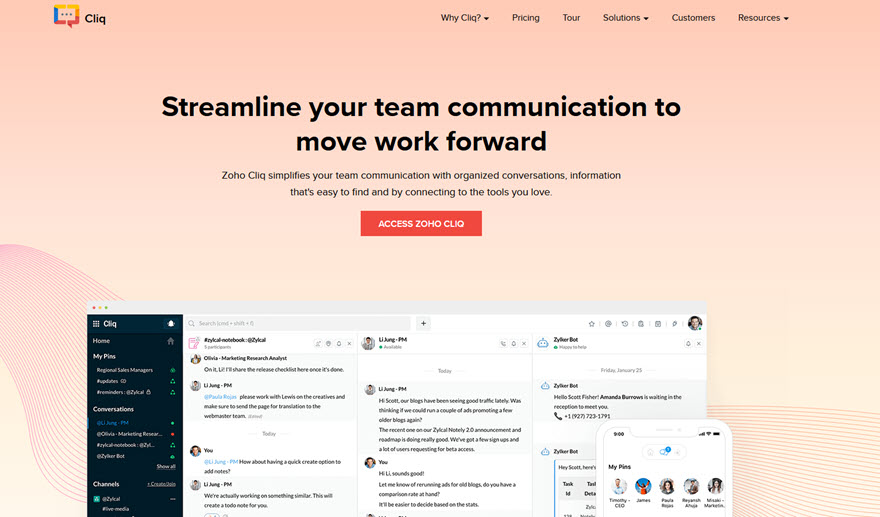 Zoho Cliq Team Chat App